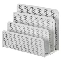 Keep your desktop or entryway console neat with this essential letter sorter, featuring 3 sections and a pierced design.