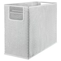 Strong, professional grade punched metal with decorative urban style slotted pattern. High quality satin finish complements any décor. Features protective feet to prevent surface wear and scratches on the desktop surface. Reinforced rounded edges provide durability and attractive detailing. Provides desktop access to standard letter size hanging file folders. Side handles make the desktop file to transport.