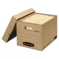 Quickly flip from flat to finished. Superior stacking strength makes transport easy and minimizes re-boxing. Features secure locking lid, larger labeling area, and a staple-free box design. Box Style: N/A; Box Type: Storage; Material(s): Corrugated; Strength: N/A.