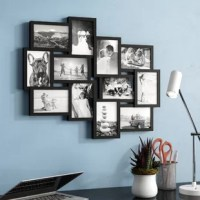 Spotlight photos of friends, family, and unforgettable events with pride in this charming collage picture frame. Crafted of plastic in a crisp black finish, this collage consists of 12 clean-lined frames for your favorite 4