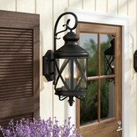 Outdoor lighting is an important selection when it comes to your home, as it adds safety and sets the tone for your decor right from your front door. Inspired by yesteryear's carriage lanterns, this piece is made of iron with a seeded glass shade. Featuring an ornamental shepherd's crook hanger and iron accents on the sides and bottom of the shade, it's makes a great outdoor traditional touch. Accommodating four 60 W bulbs (not included) and designed for wet spaces, you can rest easy when...