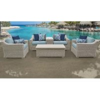 Whether you're retreating to your private haven or entertaining, this 6 Piece Rattan Sectional Seating Group with Cushions and substantial stature will welcome and surround any and all. The rounded wicker is both pleasing to the touch and appealing to the eye.