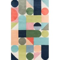 Inspired by classic wooden building blocks, the Wright rug features thoughtfully placed shapes in bright pops of color. Hand-tufted, super-fine, 100% wool rugs provide the perfect medium for The Novogratz's trademark large-scale, witty words and phrases, abstract designs and clean lines. Created with bright bold colors, pastels and retro inspired shades of mocha, avocado.