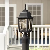 Greet guests with a warm and welcoming glow when you add this one-light lantern head to your outdoor ensemble. Rated for wet locations, this metal fixture features a solid finish, a clean-lined silhouette, geometric overlay, and a decorative finial up top for a classic look. Clear frosted glass panels make up the shade, letting light from a single compatible 100 W medium-base incandescent bulb (not included) pass through in an ambient direction. This design accommodates a 3