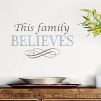 Celebrate your faith and family with this uplifting Believe Quote Wall Decal. This spiritual quote will add a comforting feel to rooms.