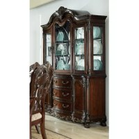 This Lighted China Cabinet provides ample display and storage space for your tabletop accessories. The cherry finish is highlighted by gold tipping that accentuates the traditional feel of elegant.