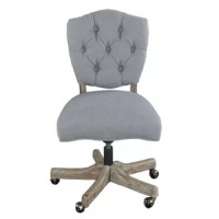 The perfect pick for any French countryside-inspired aesthetic, this office chair features 100% polyester upholstery with a button-tufted design on the solid back. It boasts an off-white finish that blends with most color palettes and has an armless design with a 360° swivel feature. Down below, the five-star base includes casters for easy transport and is finished in a brown coloring. It has an adjustable seat for finding the perfect perching height.