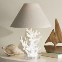 More than just illumination, this 18.62'' table lamp lends artful appeal and a splash of seaside style to your space. Founded atop a circular, clear acrylic platform, its base features a realistic-looking coral design with pores for a touch of texture and a neutral solid finish. Up top, a single light is highlighted by a tapered beige fabric shade that evenly distributes a warm glow throughout your space. Requires one 40W bulb, not included.