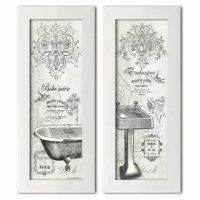 Looking to give your master bath or powder room a mini-makeover? This two-piece graphic art print set is a perfect pick for fans of French country style. Made in the USA, this set focuses in on a vintage sink and claw-foot bathtub with fleur-de-lis accents, floral details, and French typography scattered throughout. Both panels are printed on paper and set in smooth white frames. Plus, they arrive ready to hang.