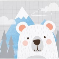 Bring a little nature to your table with the napkins. These beautiful party napkins display a gray, cubed background with mountains, trees and clouds and a smiling, white polar bear.