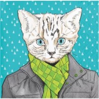 Have some fun in the cold with these Dapper Animals Cat Beverage Napkins. These beautiful party napkins feature a cat dressed up in a leather jacket and scarf, standing out in the snow. Sold in packs of 48, these disposable napkins can be paired with any rectangular appetizer plates.