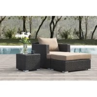 This 3 Piece Conversation Set with Sunbrella Cushions is made to enhance your seating, however, the timeless design of this set of 3 piece works with all seating sets. Lightweight but durable, the three-piece unit allows for easy transport on your patio. These club chair, ottoman and side table are constructed of a hand welded heavy gauge all aluminum frame, covered in hand rubbed tight woven resin wicker and complemented with eco-friendly, poly-filled seat cushions covered in weather-resistant...