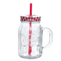 The mug is great for serving your favorite ice cold beverages. Whether you are enjoying the beverage at home or on the go, this mason jar with a convenient handle is perfect for you. This vintage Coca-Cola style mason glass will also make a great gift.