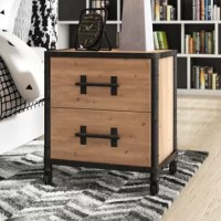 Bring a taste of what's trending into your guest room or master suite with this industrial nightstand. Founded atop four caster wheels, it's iron frame features exposed hardware and pipe-like accents for plenty of factory flair. Its wooden body is made from wood in a distressed natural finish for a rustic touch, and it has two drawers that provide a place to tuck books, vitamins, and other bedside essentials.