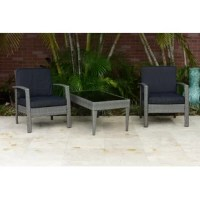 This great quality, elegant Hazle 3 Piece Conversation Set with Cushions is made of aluminum and synthetic wicker and includes a polyester cushion with water repellant treatment.