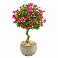 If you're looking to bring some lush greenery and a splash of color into your bathroom, then look no further than this Azalea Artificial Flowering Tree in Bowl Pot. A lifelike stem twists and turns upward, revealing a head of brilliant green leaves that are subtly accented by pink flowers. The look is finished off with a bowl Pot that complements the piece.