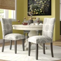 On this dining chair, you'll be enjoying home-cooked meals in style (no matter how that new recipe turns out). Founded atop a solid wood frame, it features polyester blend upholstery adorned with geometric circles. Its foam cushioning on the seat and back provides a medium-firm seating experience. Felt foot pads are included to protect both the chair and your floors. Arrives in a set of two, each measure 38'' H x 19'' W x 23.5'' D.