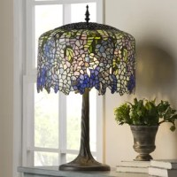 This award-winning, breathtaking design is modeled after the famous Wisteria line by Louis C. Tiffany. This dramatic lamp makes a stunning impression in any room, or as a fabulous statement in your entryway. This majestic stained glass lamp will bring delicate light into your home, with hues of green and purple.