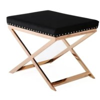Bring a touch of luxury to your bedroom thanks to this beautiful, comfortable stool. The classic colors of black and gold are given a new twist here, with the rose gold metal legs and frame adding a touch of color to the gold, a hint of the exotic that will make any room sparkle. This stool not only looks great but is super comfortable too, its lush black velvet seat is well padded. Soft to the touch, the velvet contrasts nicely with the rose gold metal, all finished off by the matching...