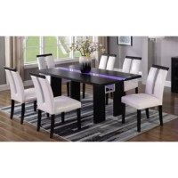 The table is made of solid wood in a black distressed finish. Chairs are upholstered in faux leather in white shiny color with black wood. Chairs are made of manufactured wood with firm seating.
