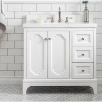 What a brilliant choice for a clean slate. This bathroom vanity set adds a level of subtle sophistication and a higher-class to any bathroom's décor. Constructed of fine quality solid hardwoods and completed with solid natural Carrara quartz/Carrara white marble countertops with extraordinary craftsmanship, is designed to last a lifetime with its timeless and versatile design, its lucid shaker styling is assured to appeal to a wide range of tastes for your bathroom renovation.