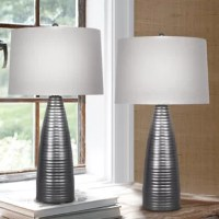 This distinctive set of ribbed metal table lamps is sure to impress. Each lamp's vintage metal robust round body builds seamlessly upwards rib by rib into a beautifully tapered design topped with a natural linen shade.