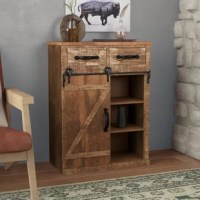 Clutter wreaking havoc in your home? Don't throw in the towel, which creates more laundry. Pick up this accent cabinet instead. Offering the rustic charm of a modern farmhouse- or cozy cabin-inspired spaces, it sports a distressed brown finish on its rectangular frame. Crafted from solid fir wood, it features two drawers and a barn-inspired door that opens to reveal interior shelves for keeping clutter to a minimum.