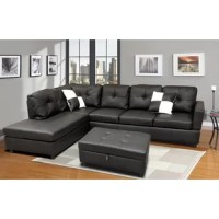 Delight your living room with this gorgeous sectional with ottoman. This has the highest quality vinyl leather to craft this sectional. The simple but elegant contemporary look will combo well with any furniture.