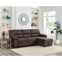 Whether you're entertaining guest or having family stay for a weekend, this Reversible Sleeper Sectional with pull-out bed and compartment lets you do both. It features a tightly upholstered microfiber with accent stitching. Expand and contract the unit with attached handles. This sectional also includes storage located in the reversible chaise.