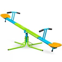 The Pure Fun Heavy Duty 360 Kids Swivel Seesaw not only goes up and down, but swivels 360° as well! The durable double steel frame, soft, easy grip handles and comfortable molded plastic seats make the swivel see saw a backyard favorite for any fun-loving kid! Parents love it too, because it's sturdy, safe and makes kids want to play outside! Heavy duty double steel tubing and a durable powder coat finish means this see saw will stand up to the elements to provide years of fun! A secure...
