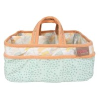 """Add organization to any area of your home with this portable diaper stacker. Perfect for dressers and changing stations, this lightly padded caddy in mint, apricot orange, dusky orange, sunset yellow and white has 8 outer pockets and a removable """"T"""" separator for maximum versatility. The body features tonal dots and flag prints with a flag print lining, tonal dots print handles and a solid trim. Keep diapers, wipes and other necessities tidy while traveling from room to room. Caddy also..."""
