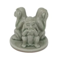 Three green monkeys learn their first lessons in life — see no evil, hear no evil, speak no evil. Duangkamol crafts the charming figurine with traditional celadon ceramic techniques featuring a unique crackled glazed.