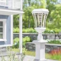 Light the way up to your front door or illuminate the back deck with this solar-powered lantern head. Designed to live outdoors, it is constructed from weather-resistant metal that doesn't mind UV light shining down or rainstorms rolling through. It takes on a traditional design, featuring a molded base and curved shade. A single light sits inside, highlighted by the clear glass to get a warm glow going.