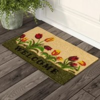 Vibrant colored tulips printed on a natural woven doormat hand-made using the ancient craft of weaving a doormat from natural coco fibers taken from the husk of the coconut, this doormat helps in scraping the dirt off shoes with its extra thick fibers.
