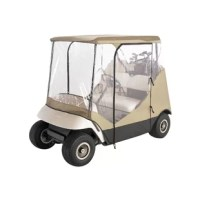 Cover up your golf cart with the Classic Accessories Fairway Travel 4 Sided Golf Car Enclosure. The car enclosure comes with a handy carrying case for easy portability. It fits two person golf cars with or without windshields easily. There are zippered doors that open on either side for easy and safe entry into the cart. The separate rear panels are easy for easy access to clubs. It is made from weather protected fabric that won't stretch or shrink. The cover has an elastic shock cord in...