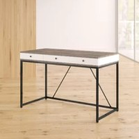 Clean-lined and contemporary, this writing desk is an ideal anchor for your office of today. Its frame pairs a metal base with manufactured wood elements finished in gray and white, making it a fine fit for spaces inspired by understated, industrial areas. Measuring 30'' H x 47.25'' W x 23.6'' D, it includes three drawers for keeping pens and important papers. Full assembly is required for this product, requiring a screwdriver and hammer.