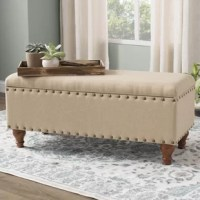 Truly multi-functional MVPs, benches pull up to dining tables, divide space in open floor plans, and act as space-conscious coffee tables – and that's just the start. Take this one for example: Crafted from a solid wood frame, it features four turned legs and features polyester upholstery with stylish nailhead trim. Plus, this bench has a secret: It loves a clutter-free home! More than just a spare seat or stylish accent, this bench brings a convenient storage solution to the space that...