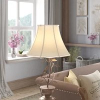 Interior design evolves over time. With the help of this traditional bell shade, so can your favorite lamp! A brass frame wrapped with silk and shantung fabric, this shade can be used with most lamp bases, thanks to its spider fitting. Measuring 14'' W x 14'' D x 11'' H, and featuring a subtle scalloped flared edge, this hand tailored shade will bring a warm glow to any room. We recommend cleaning with a damp cloth.