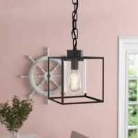 Though it may be small in size (it measures just 12.75'' H x 8.75'' W x 8.75'' D!), this pendant still packs a big punch! Because of its smaller stature, it's perfect for illuminating a compact entryway or lining a few up above the kitchen island to cast a warm glow over morning meals. A single light sits inside a cylindrical glass shade, while a clean-lined metal frame ties it all together.