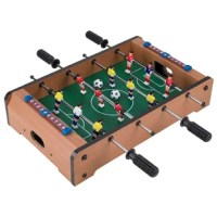 This Product is a great addition for a game room. It has a light brown finish with yellow and red players for different teams. The table top is made from wood, plastic, and metal that makes it robust and long-lasting. It includes a table and two balls that make it a perfect set for any home. The foosball table is a great addition to almost any room in the house. It's big enough for heated action, but small enough to stow away when not in use. The foosball has four row players, two rows for...