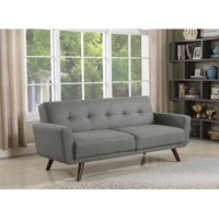 The mid-century modern-inspired design elevates this sofa bed to a stylishly functional addition to any small living room. Ideal for relaxation, the smooth seat is complete with sinuous spring decking and high-density foam. Elegant and delicate, the tufted back creates a stylish aura in a modern space. Upholstered in fabric, the neutral hues complement both bold and muted decor schemes. Tapered and angled legs constructed of solid rubberwood play into the retro look.