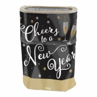 Boring black trash bags are so last year. This flings bin features a wraparound allover gold polka dot pattern, a whimsical champagne flute illustration, and large cheers to a New Year in a curly cursive font. This pop-up plastic trash bin folds down and can be stored away easily until party time. Simply pop open the trash bin in seconds and use the extra-tall, disposable, leak-proof trash bin with a sturdy drawstring closure to effortlessly clean up during your party.
