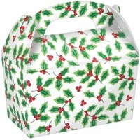 Give the gift of Christmas cookies and wrap them up in these large holly gable boxes. Each box features an all-over pattern of boughs of holly. Fill this box with cookies, candies, or other small treats and party favors. Easily carried thanks to the attached handle.