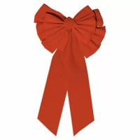 Now you can turn anything into a present when you attach this large red bow. This beautiful bow features a double bow and long dangling ribbons. Hang this bow outdoors on a tree, porch, or front door, or indoors on a banister, wall, or even a Christmas tree. Can even be attached to a wreath or a large present.