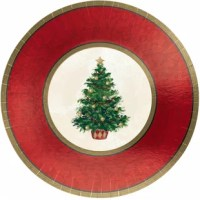Oh, Christmas tree, how lovely are thy branches. Bring one of the most iconic parts of the season to your table with these classic Christmas tree plates. Each plate is elegantly decorated Christmas tree and a colors striped border. Pile these plates high with your favorite winter foods but eat it all up before it gets cold because these plates are not microwave safe.
