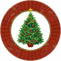 Oh, Christmas tree, how lovely are thy branches. Bring one of the most iconic parts of the season to your table with these twinkling tree plates. Each plate an elegantly decorated Christmas tree and a color border with the scroll. Pile these plates high with your favorite winter foods.