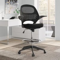 "Get to work in style and comfort with this modern drafting chair. The ergonomic seat features a sturdy nylon frame with an angled backrest for lumbar support, two foldable arms, and a thick padded seat lined with breathable mesh upholstery. The classic five-point base includes five hooded casters for effortless movement, while a gleaming silver hoop footrest offers extra comfort and support. A lever-operated hydraulic lift adjusts the seat height from 23"" - 30.5"
