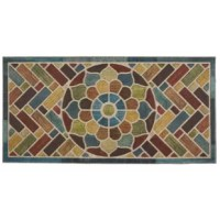 Make a stylish first impression with this doormat, featuring a herringbone and floral medallion motif comprised of multicolored woodgrain texture inspired blocks. Tasteful and timeless, this classic doormat was machine made with heat transfer needle-punch technology over high performance, weatherproof polyester.
