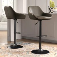 Whether rounding out the kitchen island or pulled up to a pub table, this bar stool is always a stylish spot to sit in your entertaining space. Crafted from metal, its black-finished base features a pedestal design and a rounded footrest. Its plywood seat is curved, wrapped in non-fussy faux leather upholstery for a touch of comfort. A lever on the side adjusts the height from 24.4'' to 32.7'' H.