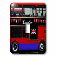 London Double Decker Bus 1-Gang Toggle Light Switch Wall Plate is made of durable scratch resistant metal that will not fade, chip or peel. Featuring a high gloss finish, along with matching screws makes this cover the perfect finishing touch.